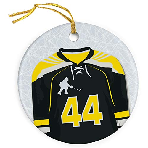 Mesllings Personalisiertes Hockey-Ornament, Porzellan, Hockey-Jersey, Gelb