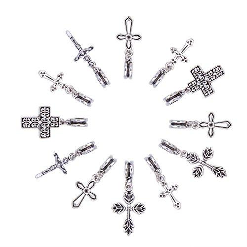 NBEADS Pendenti Croce, 50 Pezzo Ciondolo Croce Europea con Ciondolo Grande Foro (5 mm) Ciondoli in Argento Antico per La Creazione di Gioielli Fai-da-Te