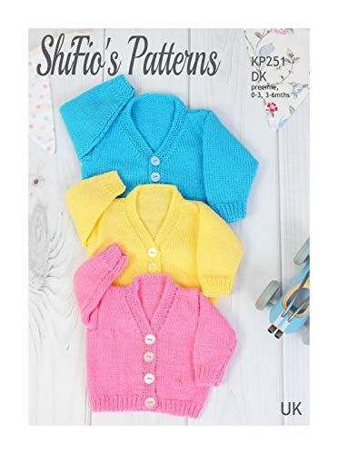 Knitting Pattern for Babies V-Neck Cardigan, Babys Double Knitting Pattern, Preemie -16', 0 to 3mths -18', 3 to 6mths - 20' Chest, Double Knitting, KP251