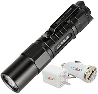 Klarus XT1A Tactical EDC USB Rechargeable Flashlight (Updated 2018 Edition) CREE XP-L HD V6 LED (1000 Lumens) Bundled With 1 Alliance Gadget USB Car Adapter and 1 Alliance Gadget USB Wall Adapter