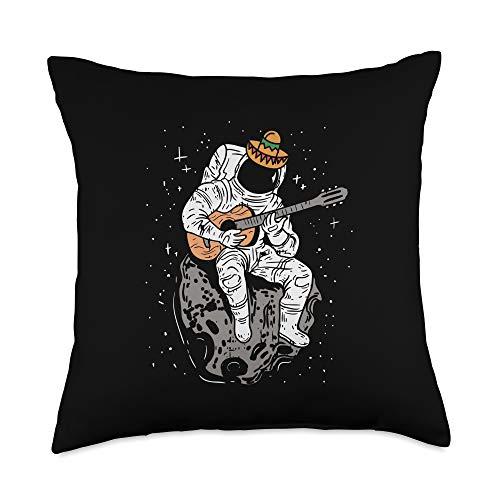 BoredKoalas Cinco De Mayo Mexican Pillows Cinco De Mayo Mexican Astronaut Guitar Player Gift Funny Throw Pillow, 18x18, Multicolor