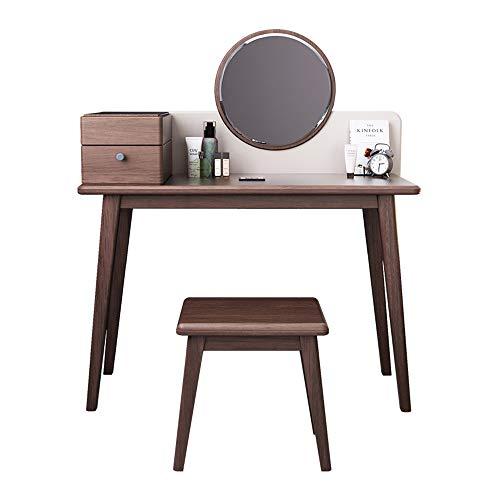 CJHOME Juego de Taburete y Espejo de Mesa de Maquillaje para Dormitorio Moderno, Juego de tocador con Espejo, tocador con 1 cajón Deslizante, Nogal 103x41.5x135cm