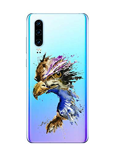 Oihxse Cristal Clear Coque pour Huawei Nova 6SE Silicone TPU Souple Protection Etui [Jolie Aquarelle Animal Design] Anti-Choc Anti-Scratch Bumper Housse Ultra Fin Case (B4)