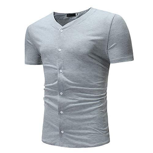 Manga Corta Hombre Moda Lazada Ajustada Hombre T-Shirt Verano Exquisita Color Sólido Casuales Camisa Cómodo Moda Jogging Acampar Hombre Deportiva Camiseta L-Gray3 M