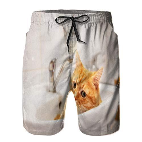 YANAIX Herren Beach Board Shorts Hose,rote Katze, die im Waschbecken im Badezimmer liegt,Schnelltrocknende Badebekleidung mit Netzfutter XL