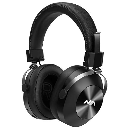 NIA Bluetooth 5.0 Wireless Headphones – 40mm Extra Deep Bass Drivers, 20 Hour Battery, with FM Radio, MP3 Player, Mic Built- in &SD Card, Premium Bluetooth Headphones, Wireless Headset, Foldable