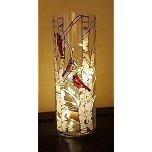 Silk Flower Arrangements Red Cardinal Bird Birch Tree Hand Painted Glass 9 Inch Cylinder Flower Vase