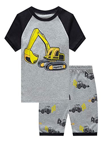 Family Feeling Big Boys Excavator Summer Pajamas Short Sets 100% Cotton Kid 8