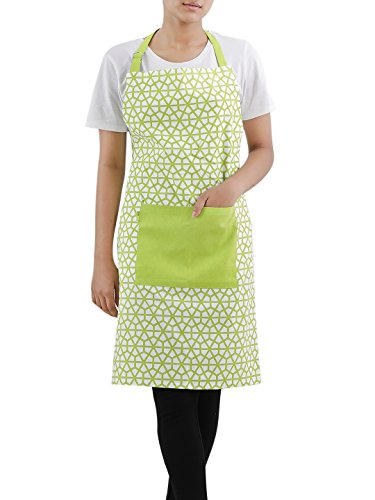 """Plush Home 100% Cotton The Hive in Lime Women's Apron with Centre Pocket & Adjustable Neck Strap for Thanksgiving, Christmas, Kitchen, Cooking, Restaurant, Café, Baking & Painting 