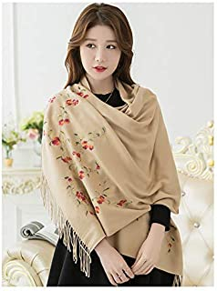 Winter Long Scarf Embroidered Scarf Female Autumn and Winter Long Paragraph Versatile air Conditioning Shawl Dual-use Thick Winter Warm (Color : Light red) Winter Soft Scarf (Color : Beige)