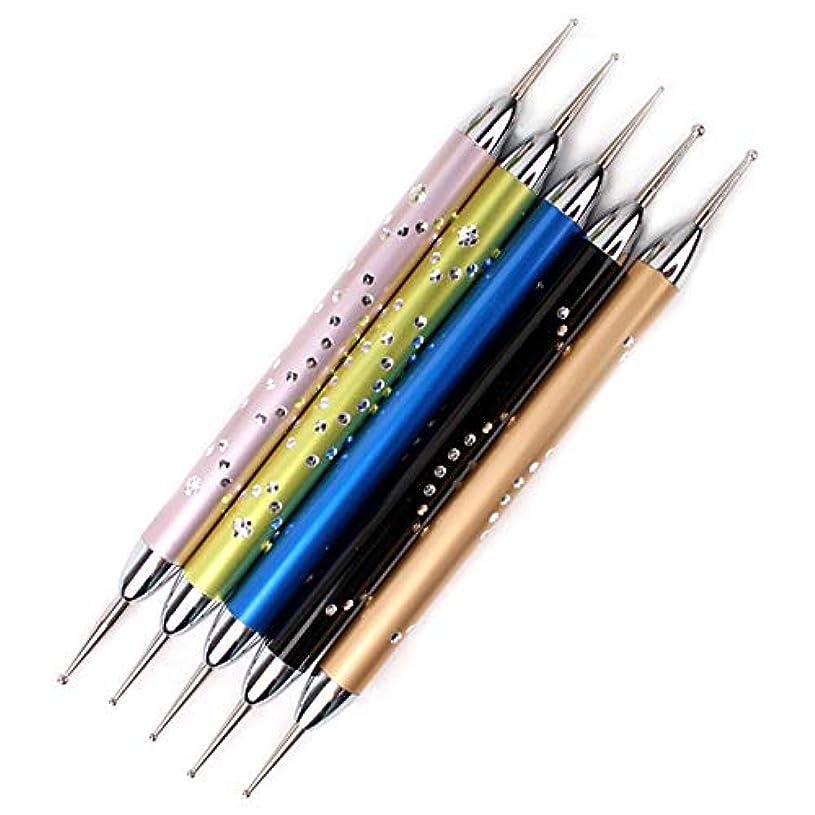 幻想プライバシー添加剤TOOGOO 5個/セットダブルスパイラルドットペンネイルアートマーブル化ドットマニキュアツールポイントドリルペンネイルドットツール、 ネイルアート用