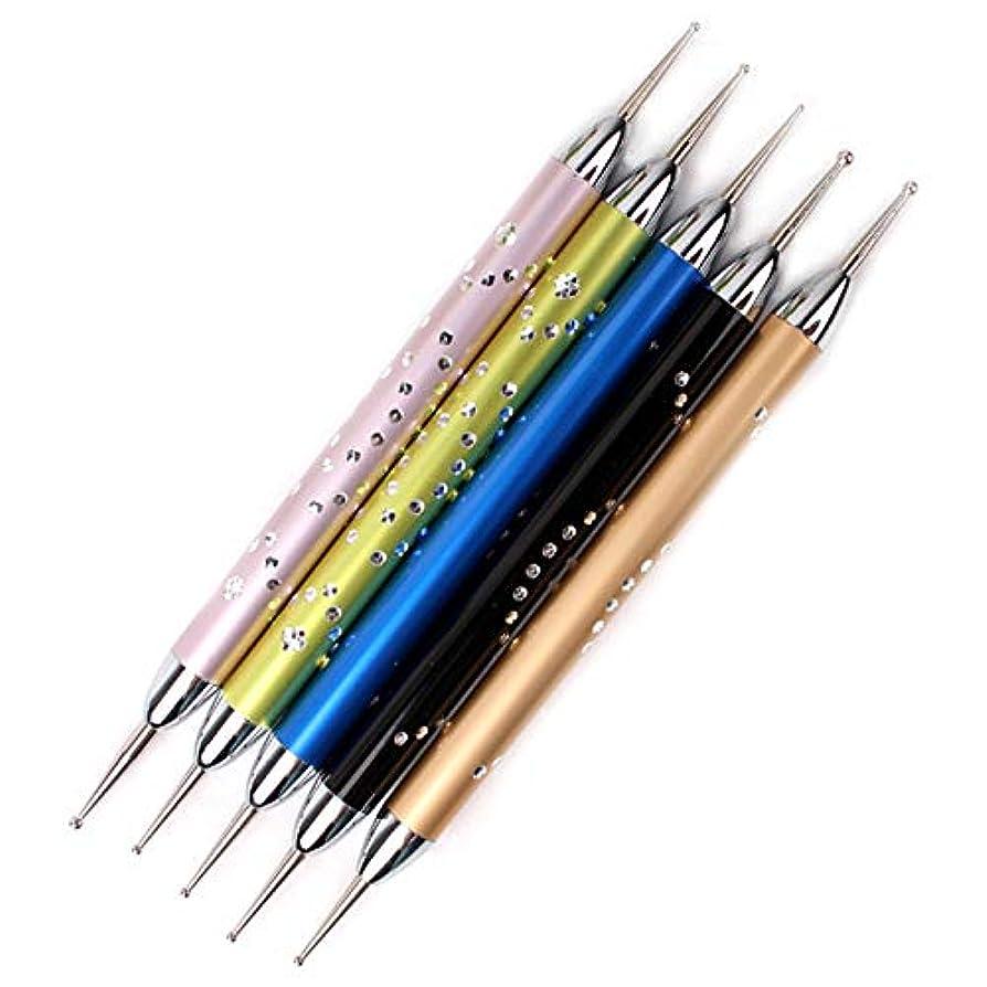 着飾るすずめマーガレットミッチェルNrpfell 5個/セットダブルスパイラルドットペンネイルアートマーブル化ドットマニキュアツールポイントドリルペンネイルドットツール、 ネイルアート用