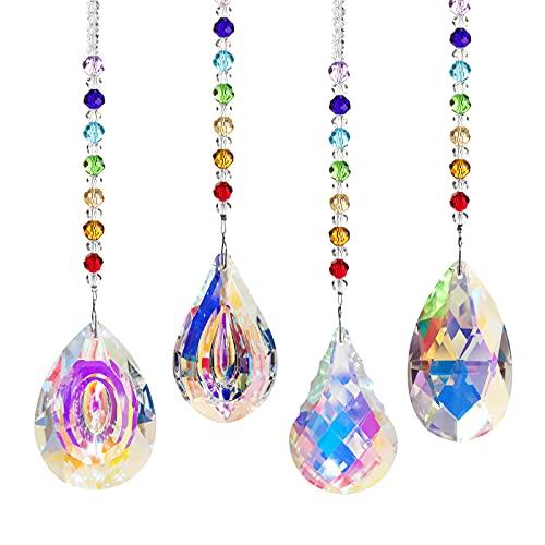 EEEKit 4 Piezas Atrapasol de Cristal de Colores, Colgantes de Prismas Colgantes de Ventana con Forma de Pera de Lágrima de Color AB para Ventana, Decoración de Jardín (Prisma de 76 mm)