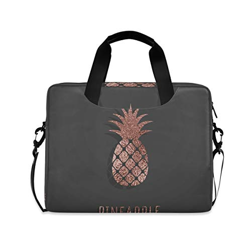 MAHU Laptop Case Bag Rose Gold Pineapple Pattern Laptop Sleeves Briefcase 13 14 15.6 inch Computer Messenger Bag with Handle Strap for Women Men Boys Girls