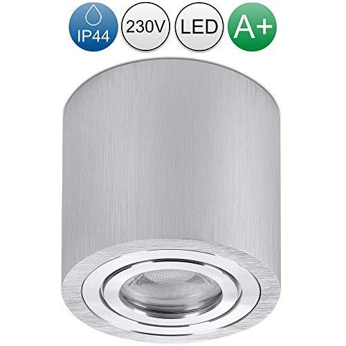lambado® LED Aufbauleuchte für Feuchtraum/Deckenstrahler Set inkl. 230V 5W GU10 Spots - Wasserschutz für Bad & Außen - Aufbaustrahler IP44 in Alu gebürstet