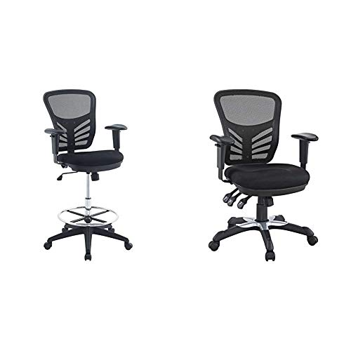 Modway Articulate Drafting Chair - Reception Desk Chair - Drafting Table Chair in Black & Articulate Ergonomic Mesh Office Chair in Black