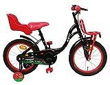 Amigo Spring - Bicicleta Infantil de 16 Pulgadas - para niñas de 4 a 6 años - con V-Brake, Freno de Retroceso, portaequipajes Delantero, Asiento para muñecas y ruedines - Negro