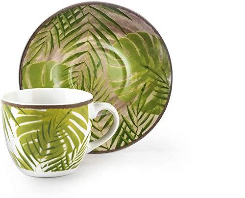 Excelsa Foliage - Juego de 6 tazas de café con plato, porcelana