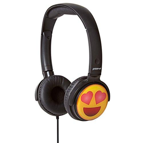 iChoose Limited Groov-e EarMOJI Écouteurs Stéréo pour Enfants/Enfants Garçons/Filles sur-Oreille Casque Filaire/Yeux de Coeur