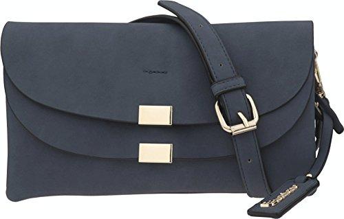 B BRENTANO Vegan Fashion Double-Flap Wristlet Clutch Crossbody Handbag (Navy(N))