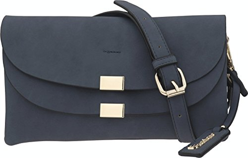 B BRENTANO Vegan Fashion Double-Flap Wristlet Clutch Crossbody Handbag (Navy(N))