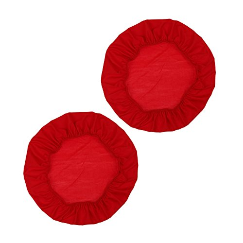 HomeDecTime Hockerbezug Rund Hocker Bezug Schutzbezug für Rundhocker Barhocker - 2 Stück rot