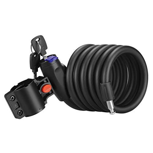 Gnohnay Bloqueo de la Bicicleta 180 cm / 12 mm con 2 Piezas de Llave y Cable de Metal, candado para Bicicleta, Carga Pesada, combinación Segura con Soporte de Montaje para Bicicleta Triciclo S