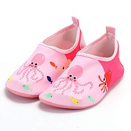 QXue Zapatos de Deportes Acuaticos Barefoot niño Zapatillas de Trail Running Minimalistas Zapatillas de Deporte Exterior Interior,Rosado,25 EU