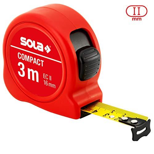 SOLA Bandmaß - COMPACT - 3m / 16mm - Taschenbandmaß mit Gürtelclip - Stahlband, gelb lackiert mit mm Skala - Genauigkeitsklasse II - Rollmeter mit beweglichem Endhaken - Metermaß Länge - 3m/16mm