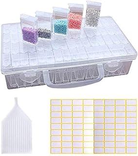 Fipart Diamant Broderie Box, Boîte à Broder en Diamant 64pcs Boîte Broderie Diamant Painting Perles Boîte de Rangement Tra...