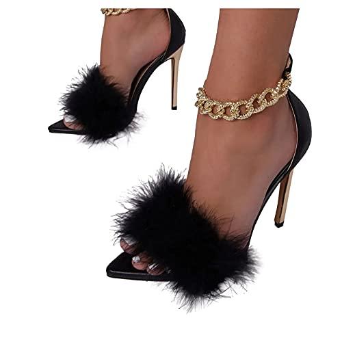 BIBOKAOKE Sandalen Damen Sommer High-Heels Sexy Sandaletten Knöchelriemchen Reißverschluss Frauen Sandalen Stiletto Absatz Spitze Sandalen Party Abschlussball Brautschuhe