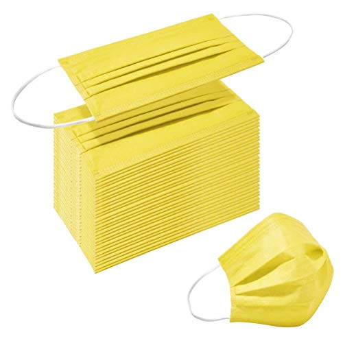 Face Masks of 50pcs Disposable Breathable Mask 3 Layer Dust Safety Mouth Cover with Elastic Ear Loop for Adult Men & Women Yellow