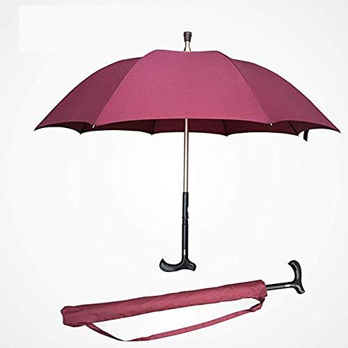 XINYAN JIA Multifunktions Krückenschirm, 2-In-1 Regenschirm Mit Trennbarem Gehstock, Zur Stärkung Der Selbstverteidigung Älterer Menschen,D