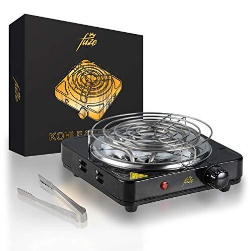 Encendedor de carbón para shisha de 1000 W, parrilla eléctrica de carbón para shisha, accesorios para shisha, encendedor de carbón eléctrico, color negro, con rejilla protectora