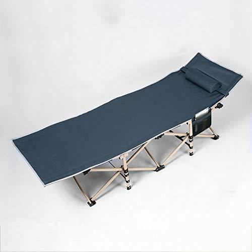 Cama plegable portátil, con cómodo reposacabezas Cama de camping ajustable, antideslizante y transpirable Resistencia al desgaste y al rasgado, peso del rodamiento 200 kg