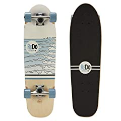 """Complete high quality cruiser skateboard made from 8ply full sheet-rock hard maple Custom wheel wells increase maneuverability, Full Concave for maximum comfort & control Carbon steel ReDo Abec 3 speed bearings, 5"""" Geo Full Aluminum trucks with harde..."""