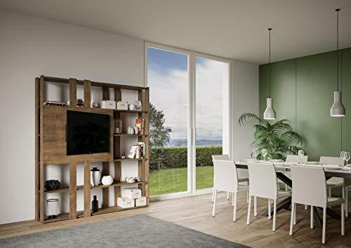 Libreria Composizione N Kato 6R 6 fasce lunghe 2 fasce corte 2 fasce medie pannello TV Noce