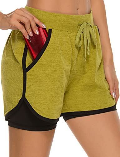 Eyesoul Shorts for Women with Pockets Womens Athletic Shorts with Liner 2 in 1 Spandex Running Yoga Gym Biker Shorts(Green,XXL)