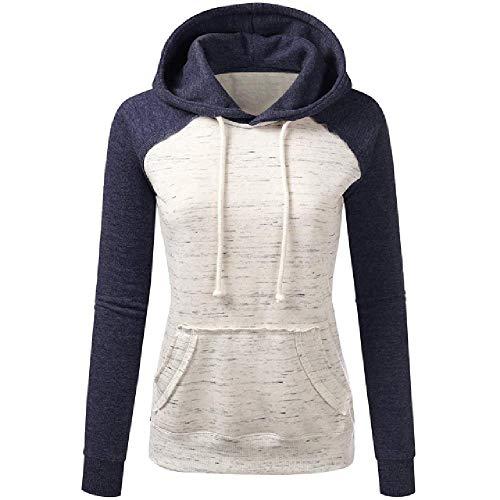 N\P Sudadera con capucha para mujer, de manga larga, con bolsillo azul marino L