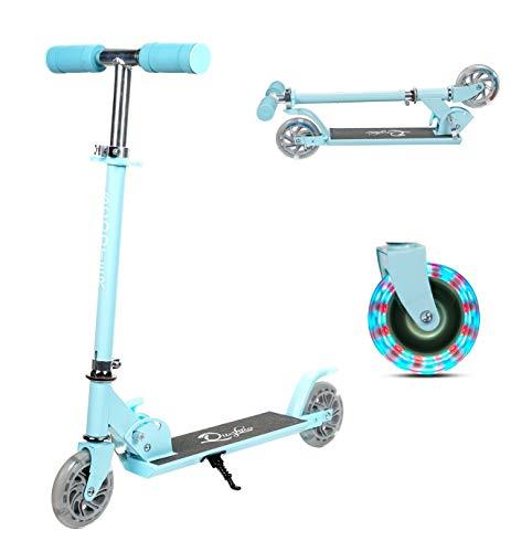 Yuanj Trottinette 2 Roues pour Enfant ,Trottinette en Aluminium avec Clignotantes en PU, 3 hauteurs réglables, Scooter Pliant pour Enfants de 3 à 10 Ans, Glisse Lisses et Stables,Bleu