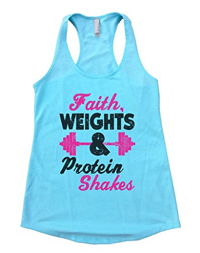 "Funny Threadz Womens Church Inspired Tank Top ""Faith Weights and Protein Shakes"" Gift X-Large, Cancun Blue"
