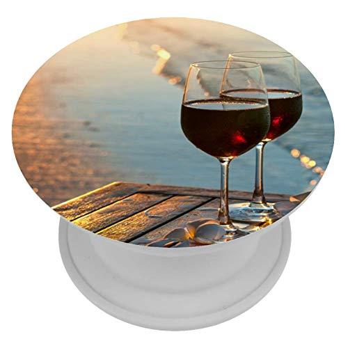 MUOOUM twee glazen rode wijn bij zonsondergang in de buurt van water lijn Telefoonhouder Stand Vinger Telefoonhouder voor Smartphone en Tabletten