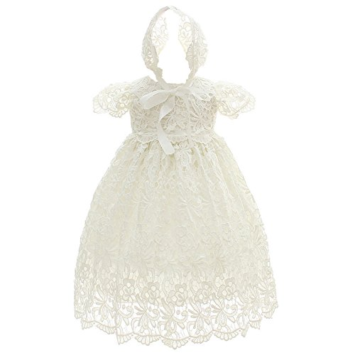 Coozy Baby Girl Special Occasion Dress 2PCS Christening Baptism Gowns Girls Hollow Long Dress (3M(0-6Months), Ivory)