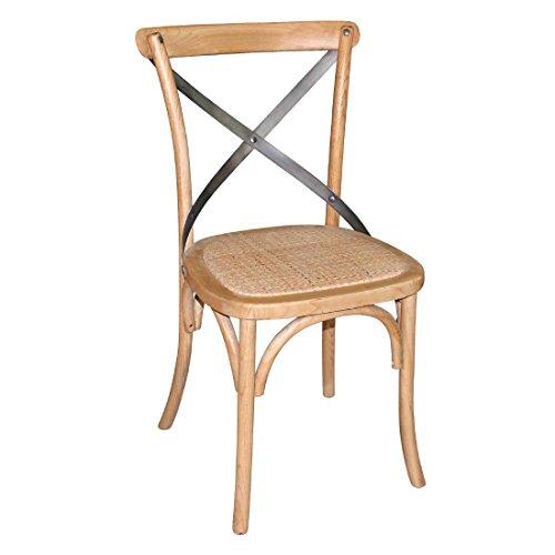 Bolero GG656 Lot de 2 chaises de salleà manger en bois avec dossier et croix en métal Hauteur 880 mm