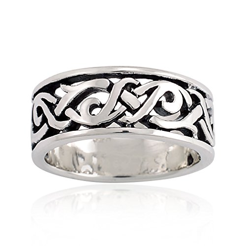 Chuvora 925 Oxidized Sterling Silver Woven Celtic Knot Eternity Band Ring Unisex Size 7