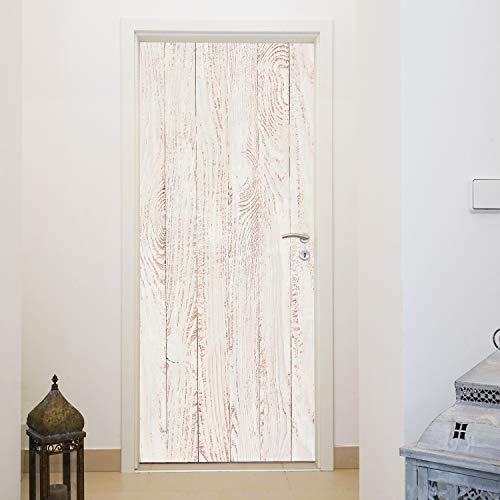 murimage Türtapete Holzoptik Weiß 86 x 200 cm inklusive Kleister Vintage Holz Bretter Skandinavien Muster Fototapete