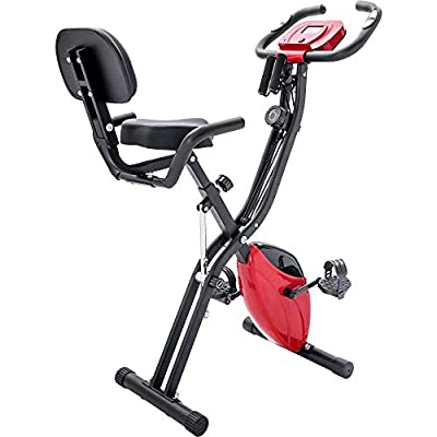 Knocbel Folding Exercise Bike Magnetic Upright Recumbent Fitness Cycle with Arm Resistance Bands, Adjustable Seat & Heart Monitor, Home Indoor Exercise Machine, 350 Lbs Weight Capacity (Red)