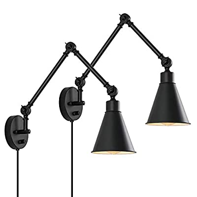 Plug in Wall Sconce Lamp, Industrial Swing Arm Wall Light Fixture with Dimmable Switch, Metal Black Wall Reading Light for Bedroom Living Room, Set of 2