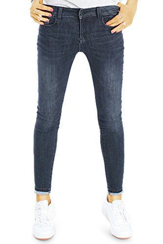 bestyledberlin Damen Jeans, Superenge SkinnyJeans, Basic Röhrenjeans j35l M
