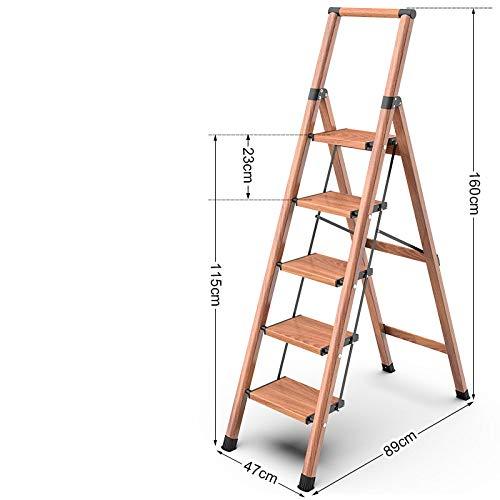 LADDER Escalera Casa Doblez Interior Cargar Los Portes Estable Multifunción Ligero Sencillo en Pequeña Escala la Seguridad Aluminio Metal Escaleras Tramo Espesar Taburetes/Grano de madera /